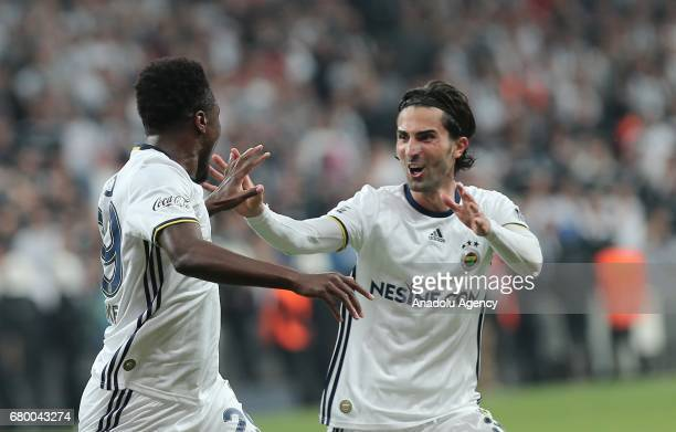 Emmanuel Emenike and Hasan Ali Kaldirim of Fenerbahce celebrate after scoring a goal during Turkish Spor Toto Super Lig soccer match between Besiktas...