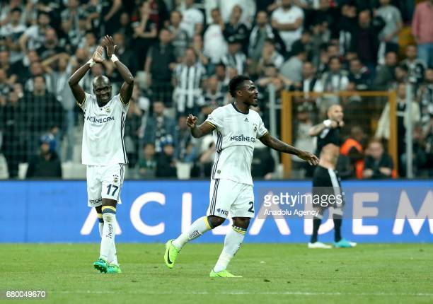 Emmanuel Emenike and Moussa Sow of Fenerbahce celebrate after scoring a goal during Turkish Spor Toto Super Lig soccer match between Besiktas and...
