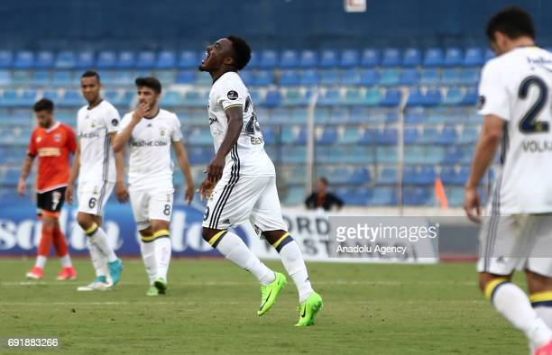 Emmanuel Emenike of Fenerbahce celebrates after scoring during the Turkish Spor Toto Super Lig match between Adanaspor and Fenerbahce at Adana 5 Ocak...