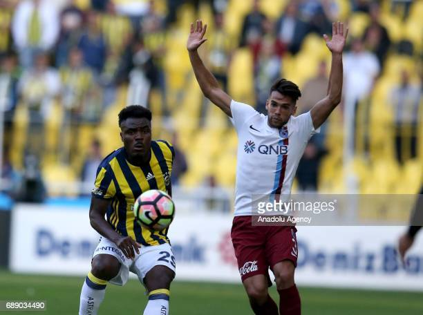 Emmanuel Emenike of Fenerbahce in action against David Mas Sgros of Trabzonspor during the Turkish Spor Toto Super Lig soccer match between...