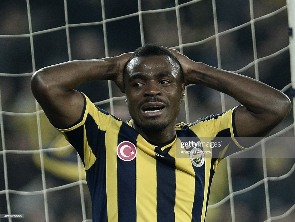 <a gi-track='captionPersonalityLinkClicked' href=/galleries/search?phrase=Emmanuel+Emenike&family=editorial&specificpeople=7487637 ng-click='$event.stopPropagation()'>Emmanuel Emenike</a> of Fenerbahce reacts after a position during the Turkish Spor Toto Spor League soccer match between Fenerbahce and Trabzonspor at Sukru Saracoglu Stadium in Istanbul, Turkey on February 07, 2015.