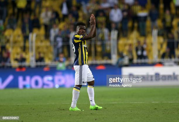 Emmanuel Emenike of Fenerbahce reacts during the Turkish Spor Toto Super Lig soccer match between Fenerbahce and Trabzonspor at Ulker Stadium in...