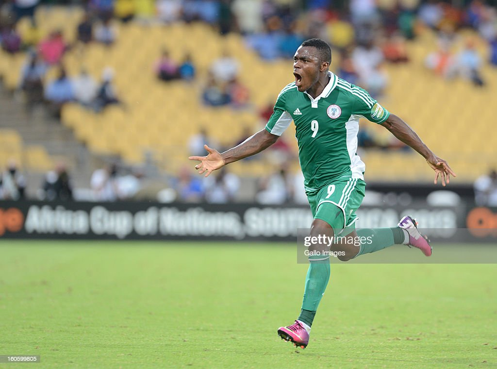 Emmanuel Emenike of Nigeria celebrates scoring a goal during the 2013 Orange African Cup of Nations 3rd Quarter Final match between Ivory Coast and...