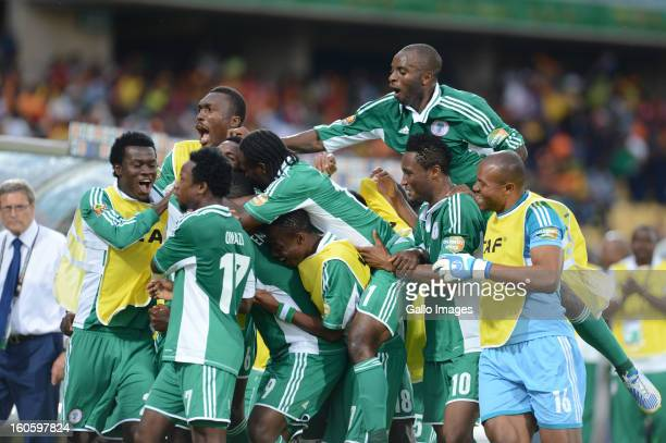 Emmanuel Emenike of Nigeria celebrates scoring a goal with his teamamtes during the 2013 Orange African Cup of Nations 3rd Quarter Final match...