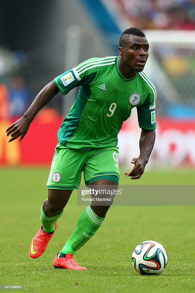 <a gi-track='captionPersonalityLinkClicked' href=/galleries/search?phrase=Emmanuel+Emenike&family=editorial&specificpeople=7487637 ng-click='$event.stopPropagation()'>Emmanuel Emenike</a> of Nigeria controls the ball during the 2014 FIFA World Cup Brazil Group F match between Nigeria and Argentina at Estadio Beira-Rio on June 25, 2014 in Porto Alegre, Brazil.