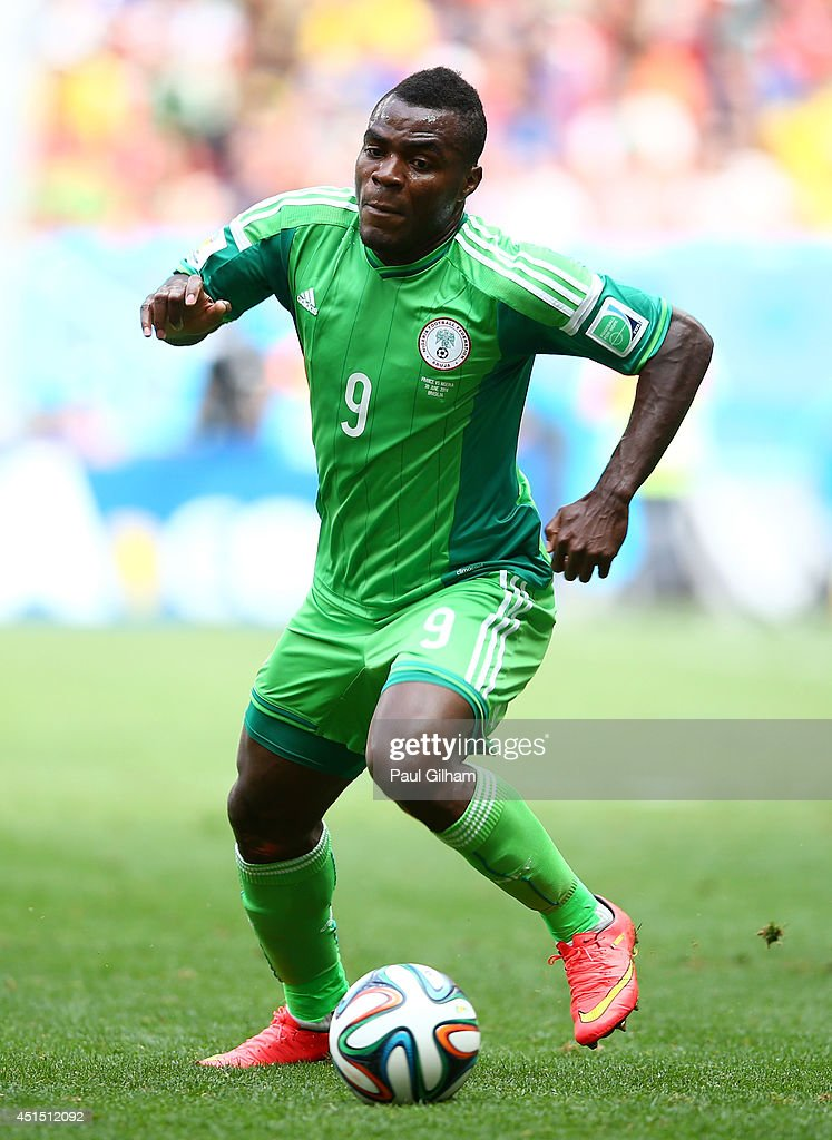 <a gi-track='captionPersonalityLinkClicked' href=/galleries/search?phrase=Emmanuel+Emenike&family=editorial&specificpeople=7487637 ng-click='$event.stopPropagation()'>Emmanuel Emenike</a> of Nigeria controls the ball during the 2014 FIFA World Cup Brazil Round of 16 match between France and Nigeria at Estadio Nacional on June 30, 2014 in Brasilia, Brazil.