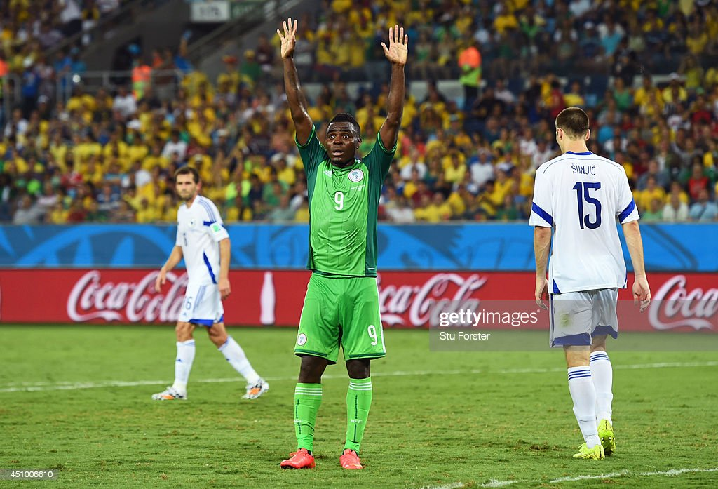 <a gi-track='captionPersonalityLinkClicked' href=/galleries/search?phrase=Emmanuel+Emenike&family=editorial&specificpeople=7487637 ng-click='$event.stopPropagation()'>Emmanuel Emenike</a> of Nigeria reacts during the 2014 FIFA World Cup Group F match between Nigeria and Bosnia-Herzegovina at Arena Pantanal on June 21, 2014 in Cuiaba, Brazil.