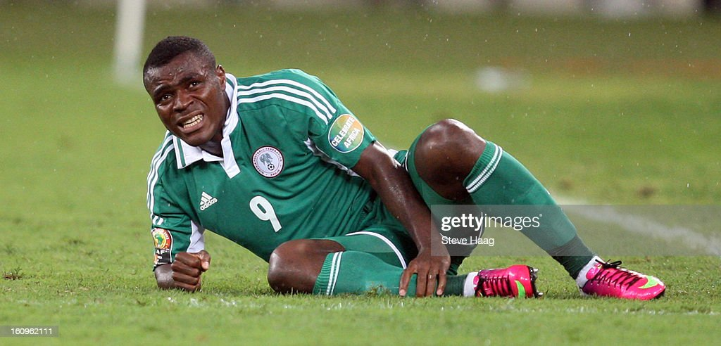 Emmanuel Emenike of Nigeria stays on the floor after hurting himself during the 2013 African Cup of Nations Semi-Final match between Mali and Nigeria at Moses Mahbida Stadium on February 06, 2013 in Durban, South Africa.