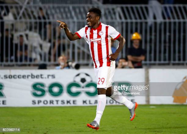 Emmanuel Emenike of Olympiacos celebrates after scoring the goal during the UEFA Champions League Qualifying match between FC Partizan and Olympiacos...