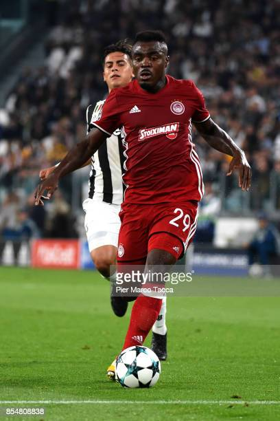 Emmanuel Emenike of Olympiakos Piraeus in action during the UEFA Champions League group D match between Juventus and Olympiakos Piraeus at Juventus...