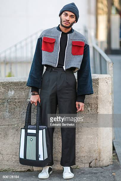 Emmanuel Fours wearing a Sans Culotte Sans Papiers jacket a Jump From Paper bag and Agns B shoes after the Rick Owens show during Paris Fashion...
