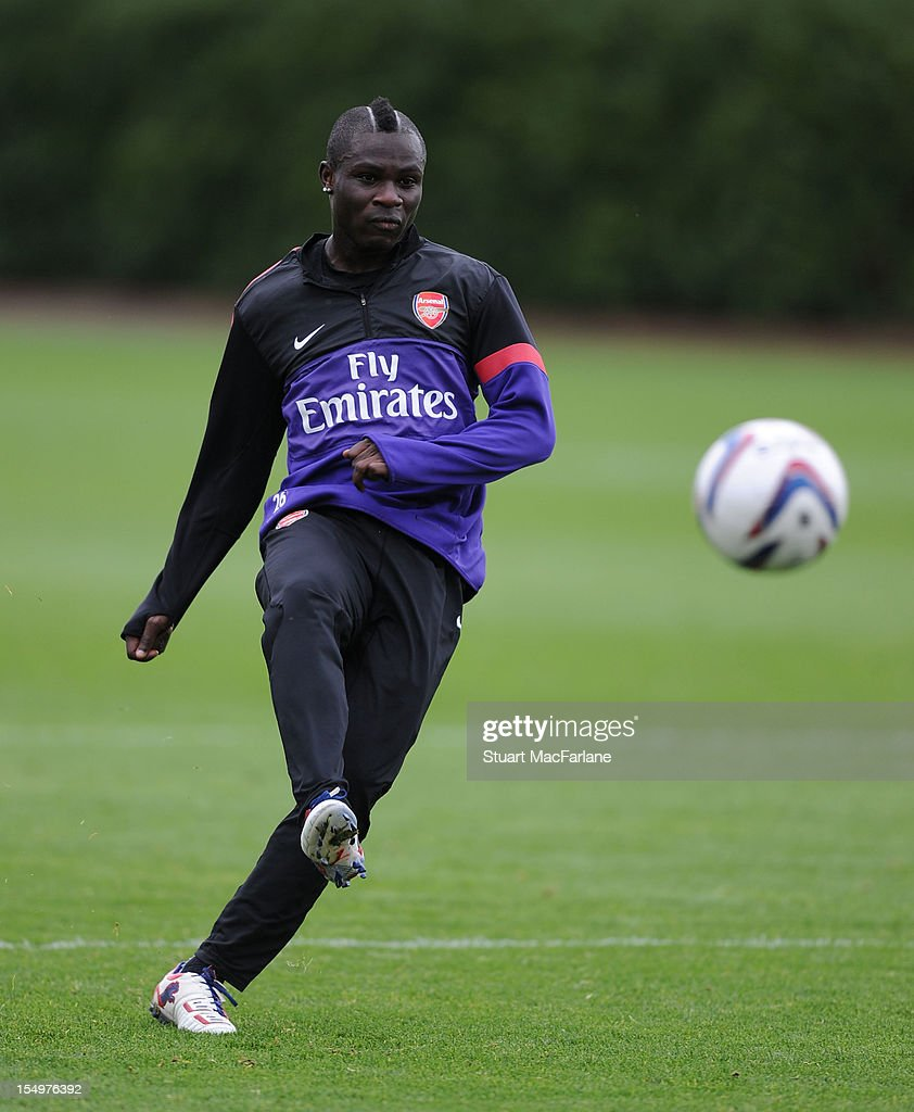 <a gi-track='captionPersonalityLinkClicked' href=/galleries/search?phrase=Emmanuel+Frimpong&family=editorial&specificpeople=5014743 ng-click='$event.stopPropagation()'>Emmanuel Frimpong</a> of Arsenal during a training session at London Colney on October 29, 2012 in St Albans, England.