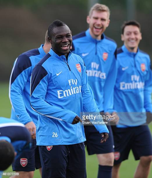 Emmanuel Frimpong of Arsenal during a training session at London Colney on January 8 2014 in St Albans England