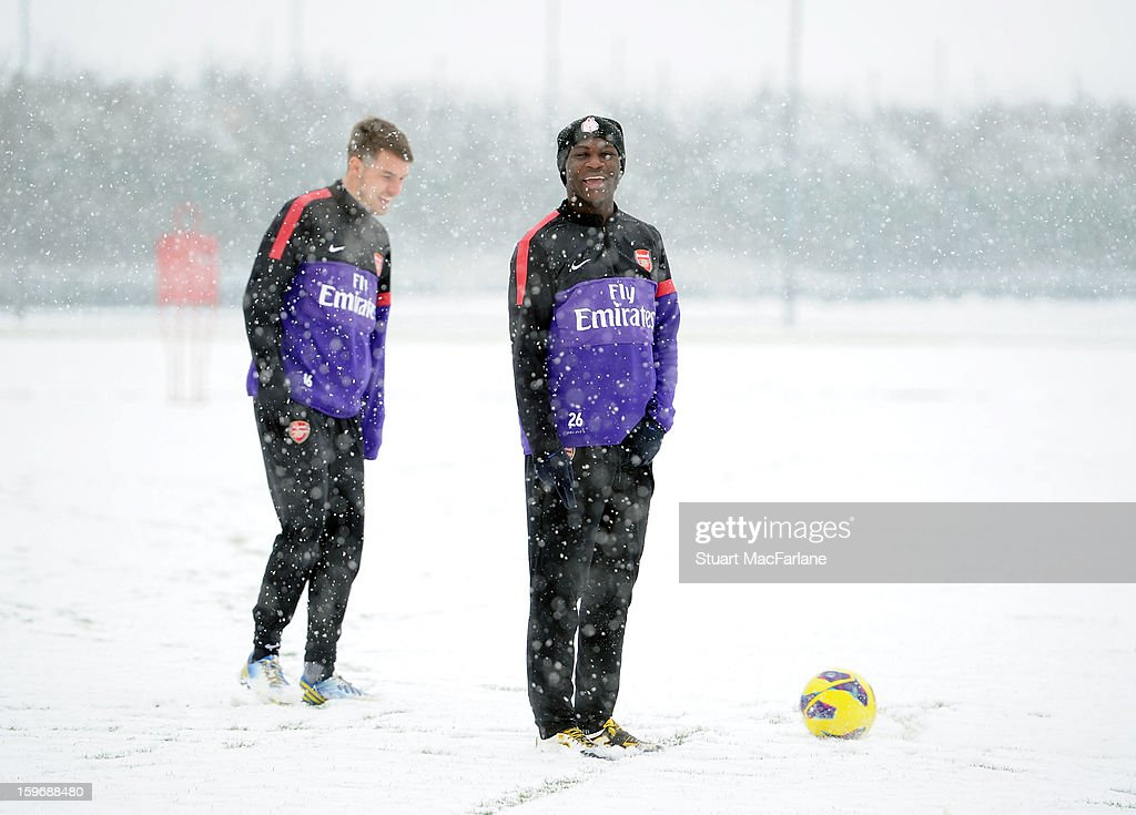 <a gi-track='captionPersonalityLinkClicked' href=/galleries/search?phrase=Emmanuel+Frimpong&family=editorial&specificpeople=5014743 ng-click='$event.stopPropagation()'>Emmanuel Frimpong</a> of Arsenal looks on during a training session at London Colney on January 18, 2013 in St Albans, England.
