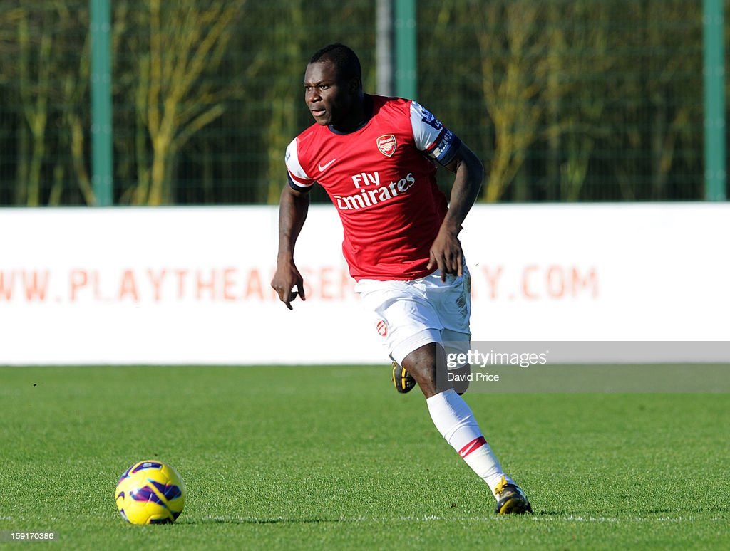 Emmanuel Frimpong of Arsenal runs with the ball during the Barclays Premier U21 match between Arsenal U21 and West Bromwich Albion U21 at London Colney on January 9, 2013 in St Albans, United Kingdom.