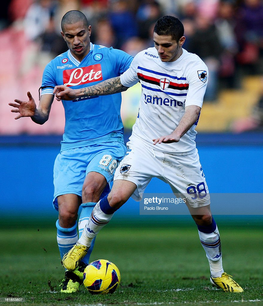 Emmanuel Icardi (R) of UC Sampdoria competes for the ball with Gokhan Inler of SSC Napoli during the Serie A match between SSC Napoli and UC Sampdoria at Stadio San Paolo on February 17, 2013 in Naples, Italy.