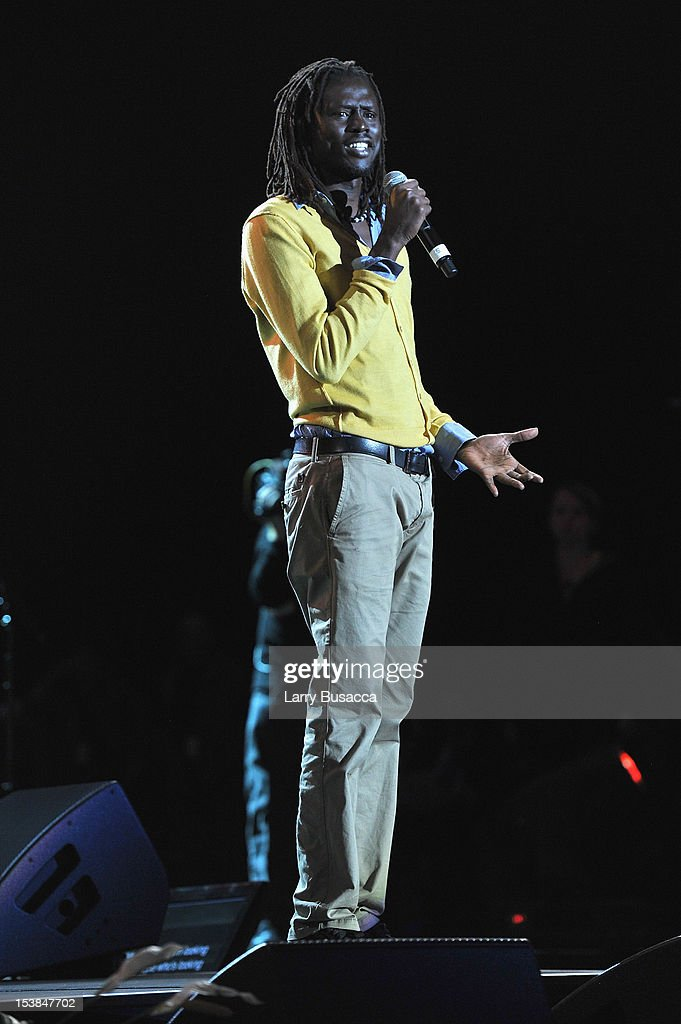 Emmanuel Jal performs onstage at the One World Concert at Syracuse University on October 9 2012 in Syracuse New York