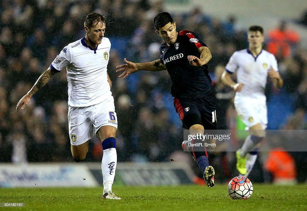 Emmanuel Ledesma of Rotherham United FC controls the ball over Luke Murphy of Leeds United FC during The Emirates FA Cup Third Round match between Leeds United and Rotherham United at Elland Road on January 9, 2016 in Leeds, England.