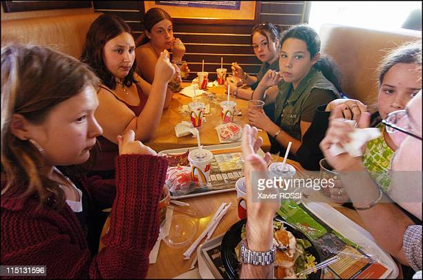 Obese teenagers get a second chance in Sanary Sur Mer France in May 2004 May 2004 Emmanuel Longueville gives a dietetics lesson at a McDonald¿s...