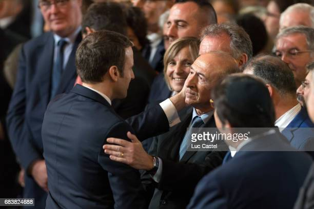 Emmanuel Macron and Gerard Collomb attend Emmanuel Macron Officially Inaugurated as French President at Elysee Palace on May 14 2017 in Paris France