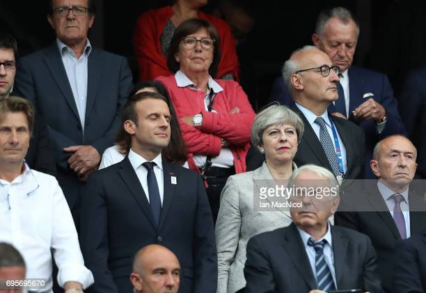 Emmanuel Macron and Theresa May are seen prior to the international Friendly match between France and England at Stade de France on June 13 2017 in...