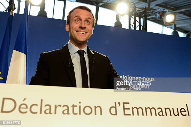 Emmanuel Macron Former French Economy Minister and head of the political movement 'En Marche' delivers a speech to announce his candidacy for the...