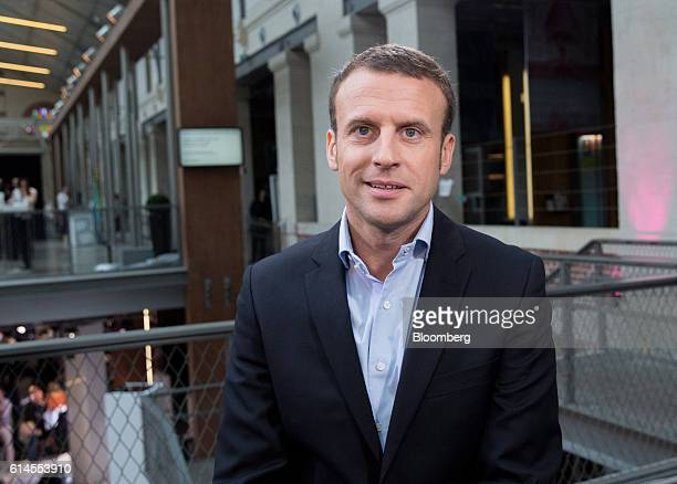 Emmanuel Macron France's former economy minister poses for a photograph following a Bloomberg Television interview at the Hello Tomorrow technology...