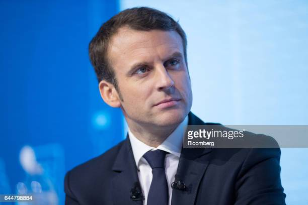 Emmanuel Macron France's independent presidential candidate looks on during the National Federation for Public Works conference in Paris France on...