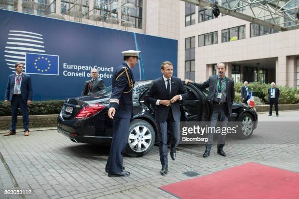 Emmanuel Macron France's president arrives for a meeting of European Union leaders in Brussels Belgium on Thursday Oct 19 2017 UK Prime Minister...