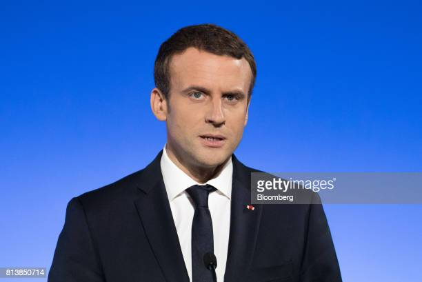 Emmanuel Macron France's president speaks during a news conference with Germany's Chancellor Angela Merkel following a FrancoGerman joint cabinet...