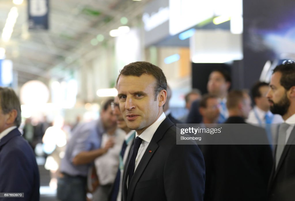 Emmanuel Macron, France's president, tours the 53rd International Paris Air Show at Le Bourget, in Paris, France, on Monday, June 19, 2017. The show is the world's largest aviation and space industry exhibition and runs from June 19-25. Photographer: Chris Ratcliffe/Bloomberg via Getty Images