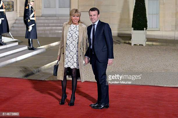 Emmanuel Macron French Minister of Economy and his wife Brigitte Trogneux arrive to the state dinner given by French President Francois Hollande in...