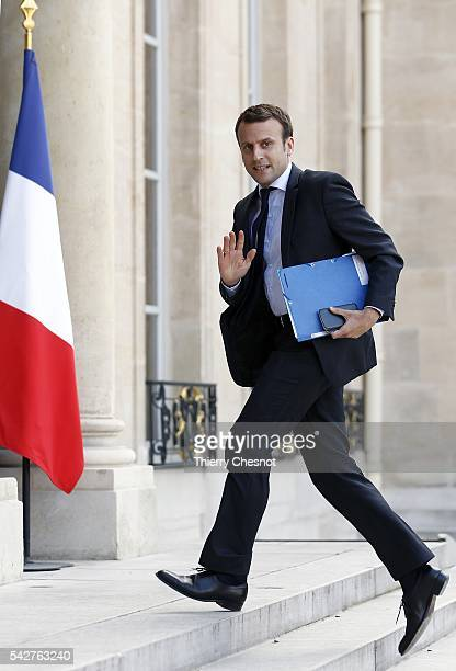 Emmanuel Macron French Minister of Economy arrives at the Elysee Presidential palace for a cabinet meeting after the results of the UK Brexit...