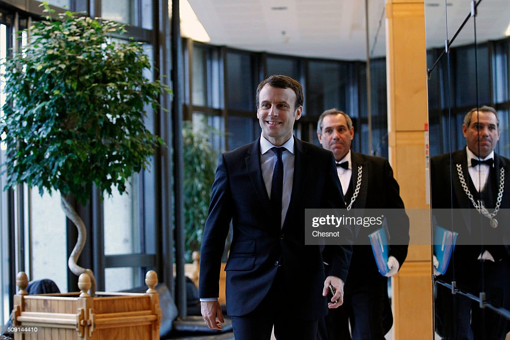 Emmanuel Macron, French Minister of Economy arrives at the Ministry of Finance on February 9, 2016, in Paris, France. Michel Sapin and Emmanuel Macron meet Wolfgang Schauble for a Franco-German Economic and Financial Council meeting.