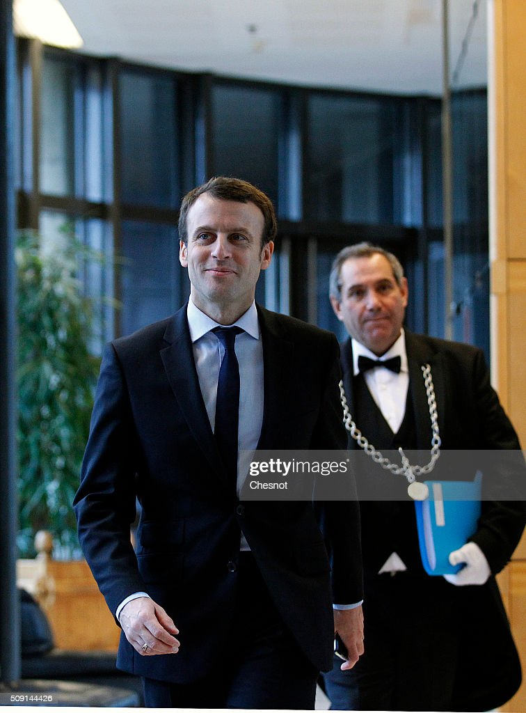 <a gi-track='captionPersonalityLinkClicked' href=/galleries/search?phrase=Emmanuel+Macron&family=editorial&specificpeople=9899223 ng-click='$event.stopPropagation()'>Emmanuel Macron</a>, French Minister of Economy arrives at the Ministry of Finance on February 9, 2016, in Paris, France. Michel Sapin and <a gi-track='captionPersonalityLinkClicked' href=/galleries/search?phrase=Emmanuel+Macron&family=editorial&specificpeople=9899223 ng-click='$event.stopPropagation()'>Emmanuel Macron</a> meet Wolfgang Schauble for a Franco-German Economic and Financial Council meeting.