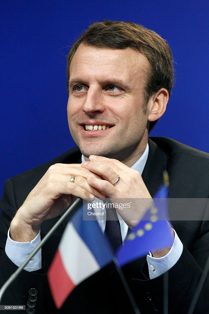 <a gi-track='captionPersonalityLinkClicked' href=/galleries/search?phrase=Emmanuel+Macron&family=editorial&specificpeople=9899223 ng-click='$event.stopPropagation()'>Emmanuel Macron</a>, French Minister of Economy attends a press conference at the minister of finances on February 9, 2016 in Paris, France. Michel Sapin meets Wolfgang Schauble for a Franco-German Economic Council.