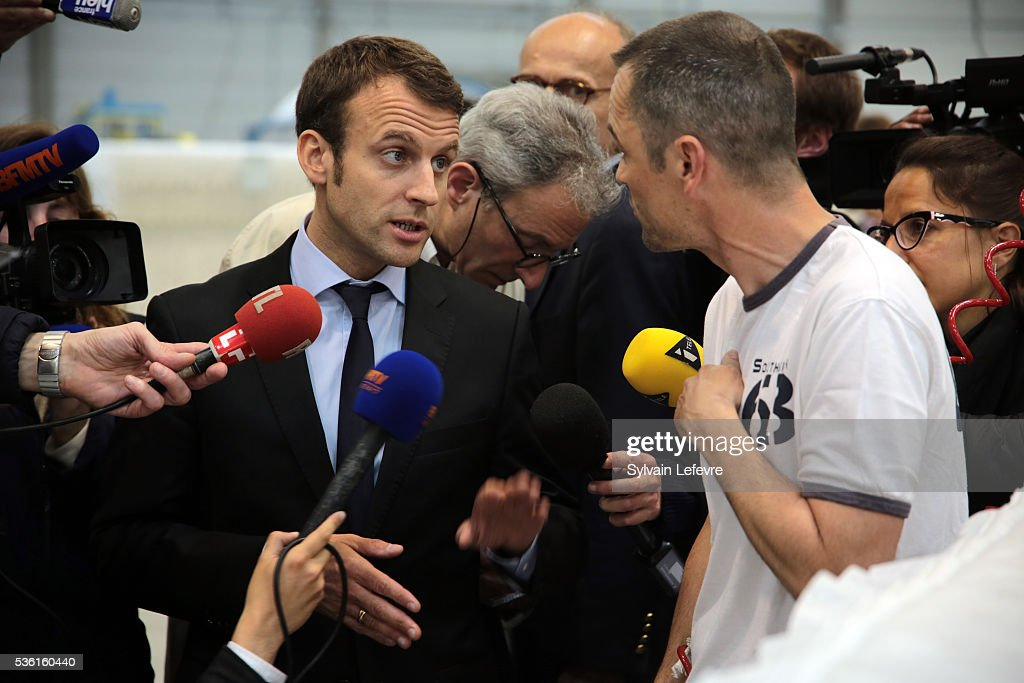Emmanuel Macron, French Minister of Economy, visits Simmons Bedding Company on May 31, 2016 in Saint-Amand-Les-Eaux near Valenciennes, France.