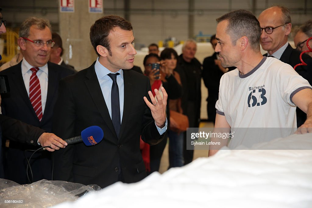 <a gi-track='captionPersonalityLinkClicked' href=/galleries/search?phrase=Emmanuel+Macron&family=editorial&specificpeople=9899223 ng-click='$event.stopPropagation()'>Emmanuel Macron</a>, French Minister of Economy, visits Simmons Bedding Company on May 31, 2016 in Saint-Amand-Les-Eaux near Valenciennes, France.