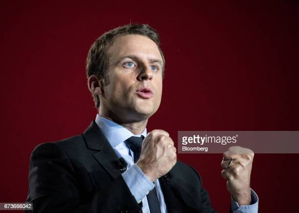 Emmanuel Macron French presidential candidate gestures as he delivers a speech during an election campaign event in Arras France on Wednesday April...