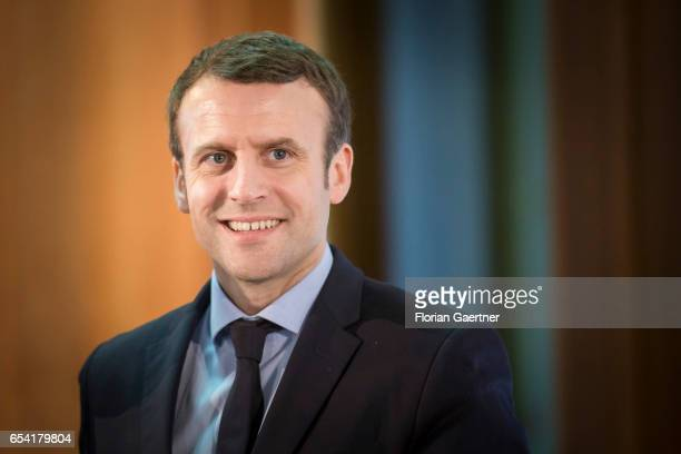 Emmanuel Macron is pictured during a press conference with German Foreign Minister and Vice Chancellor Sigmar Gabriel on March 16 2017 in Berlin...