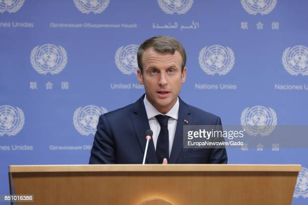 Emmanuel Macron President of France addresses a press conference in the margins of the General Assembly at the UN Headquarters in New York City New...