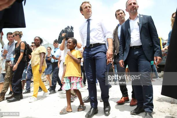 Emmanuel Macron President of France during his visit after the passing of Hurricane Irma on September 12 2017 in Grand Case Saint Martin The...