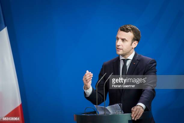 Emmanuel Macron President of France is pictured during a press conference with German Chancellor Angela Merkel on May 15 2017 in Berlin Germany It is...