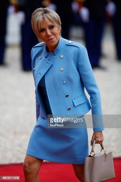Emmanuel Macron's wife Brigitte Trogneux arrives at the Elysee presidential Palace to attend Emmanuel Macron's formal inauguration ceremony as French...