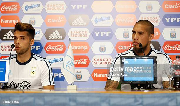 Emmanuel Mas of Argentina speaks during a press conference at Argentine Football Association 'Julio Humberto Grondona' training camp on October 09...