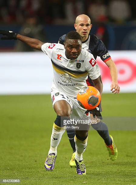 Emmanuel Mayuka of Sochaux in action during the french Ligue 1 match between Paris SaintGermain FC and FC Sochaux Montbeliard at the Parc des Princes...