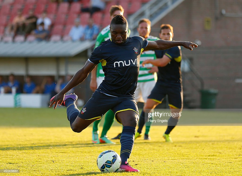 Emmanuel Mayuka of Southampton scores a penalty during the pre-season friendly match between KSK Hasselt and Southampton at the Stedelijk Sportstadion on July 17, 2014 in Hasselt, Belgium.