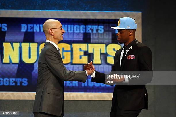 Emmanuel Mudiay meets with Commissioner Adam Silver after being selected seventh overall by the Denver Nuggets in the First Round of the 2015 NBA...