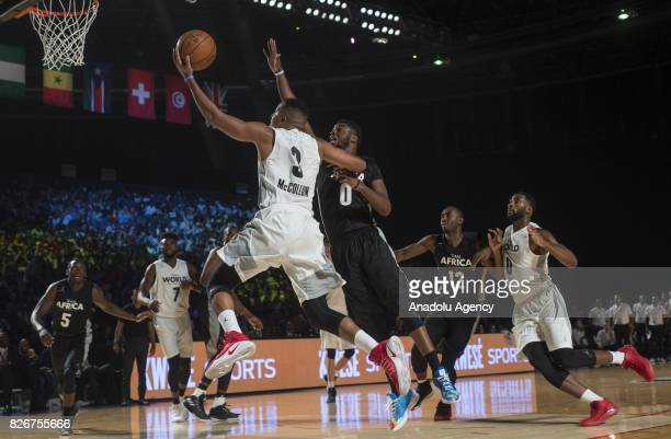Emmanuel Mudiay of Team Africa in action against C J McCollum of Team World during the 2017 Africa Game between Team Africa and Team World at the...