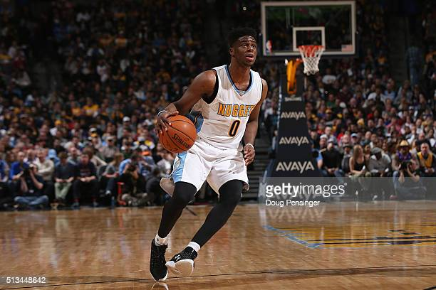 Emmanuel Mudiay of the Denver Nuggets controls the ball against the Los Angeles Lakers at Pepsi Center on March 2 2016 in Denver Colorado The Nuggets...